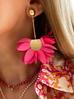 Kolczyki satynowe kwiaty różowe KBL0445