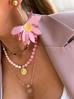 Naszyjnik różowy z perłami NPA0095