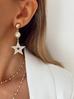 Kolczyki złote gwiazdki z perłami i kryształkami KRG0254