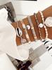 Bransoletka elastyczna szaro biała BLB0066