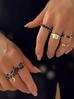 Pierścionek złoty z czarnymi kryształami PRG0173 rozmiar 14