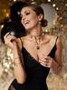 Naszyjnik z łańcuszkiem z czarnymi kryształkami i złotymi monetami NRG0195