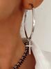 Kolczyki srebrne krzyżyki z kółkiem KRG0525