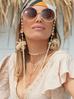 Łańcuszek do okularów z jadeitami kremowy NPA0112