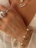 Naszyjnik złoty z łańcuchem i agrafką z perłami NRG0213