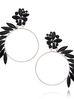 Kolczyki srebrne koła z czarnymi kryształami KSS0823