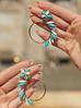 Kolczyki złote koła z niebieskimi kryształami KSS0827