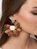Kolczyki satynowe kwiaty  Blossom  brązowe KBL0305