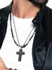 Naszyjnik męski ze stali szlachetnej srebrny - krzyż NMITC0008