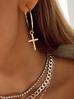 Kolczyki złote koła z krzyżykiem KRG0609