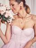 Naszyjnik różaniec z kryształkami i jadeitem bordowy NOA0052