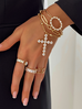 Bransoletka złota z łańcuchem i krzyżem BRG0129
