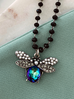 Naszyjnik zielono-fioletowy owad z kryształkami NMI0057 44cm