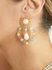 Kolczyki złote serca z perłami KPE0043