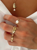 Pierścionek elastyczny z perłą PPE0005