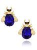 Kolczyki złote żuki z ciemno granatowymi kryształkami KMI0127