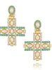 Kolczyki złote krzyżyki z miętowymi kryształkami KU0015
