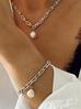 Naszyjnik srebrny łańcuch  z perłą  NRG0176