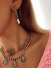 Kolczyki  z perełkami i łańcuszkiem antyczne złoto KPE0039