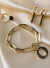 Pierścionek złoty ze stali szlachetnej z czarną kulką PSA0063 Rozmiar 20