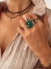 Pierścionek złoty z zieloną gwiazdą PU0011