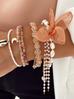 Bransoletka z perłami i z brzoskwiniowym kwiatem  BBL0066