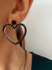 Kolczyki złote serca z czarnymi  kryształkami KRG0550