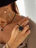 Naszyjnik CZARNY żuk z kryształkami NMI0035