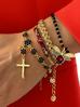 Bransoletka złota z kryształkami i krzyżykiem BRG0181