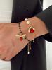 Bransoletka z perłami i czerwonym owadem BMI0062