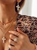 Kolczyki złote krzyżyki z perłami KRG0589