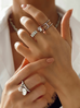 Pierścionek srebrny z kryształkami PRG0108 rozmiar 12
