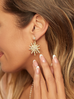 Kolczyki złote gwiazdy z perełkami KPE0034