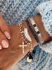 Bransoletka złota z perełkami i krzyżykiem BRG0103