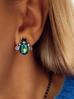 Kolczyki srebrne żuki z zielonymi kryształkami KMI0081