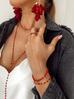 Naszyjnik różaniec Olivia z czerwonych kryształków NOA0005