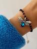 Bransoletka srebrna z niebieskim owadem z kryształkami BMI0031