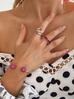 Pierścionek złoty z rubinowymi kryształkami PRG0053 rozmiar 17