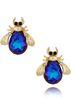 Kolczyki złote żuki z granatowymi kryształkami KMI0138