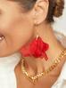 Kolczyki jedwabne kwiaty czerwone KBL0404