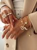 Bransoletka złota z sercem i perłami  BRG0169