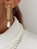 Kolczyki złote z perełkami i łańcuszkiem KPE0031