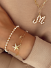 Naszyjnik złoty łańcuch  z literka z perłami M NRG0152