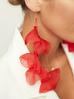 Kolczyki jedwabne kwiaty długie czerwone KBL0426
