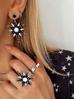 Kolczyki z czarną  białą gwiazdą White Stars KU0012