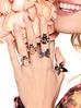 Pierścionek złoty żuk z łososiowym kryształkiem i cyrkoniami PMI0063