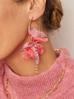 Kolczyki jedwabne kwiaty różowe KBL0369
