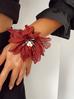 Bransoletka z kryształkami i bordowym kwiatem BBL0134