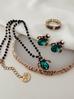 Naszyjnik zielony żuk z kryształkami NMI0026