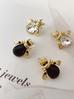Kolczyki złote żuki z transparentnymi kryształkami KMI0101